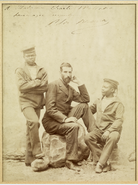 "(Original Caption) ""Pierre Savorgiran Brazza (1852-1905), French sailor and explorer of the Congo with two sailors. Undated photo by Nadar."""