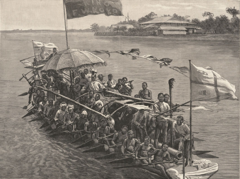 King Koko in His War Canoe on His Way Down the River, The Rising of the Brassmen on the Guinea Coast, full-page illustration from The Daily Graphic of London. March, 30, 1885