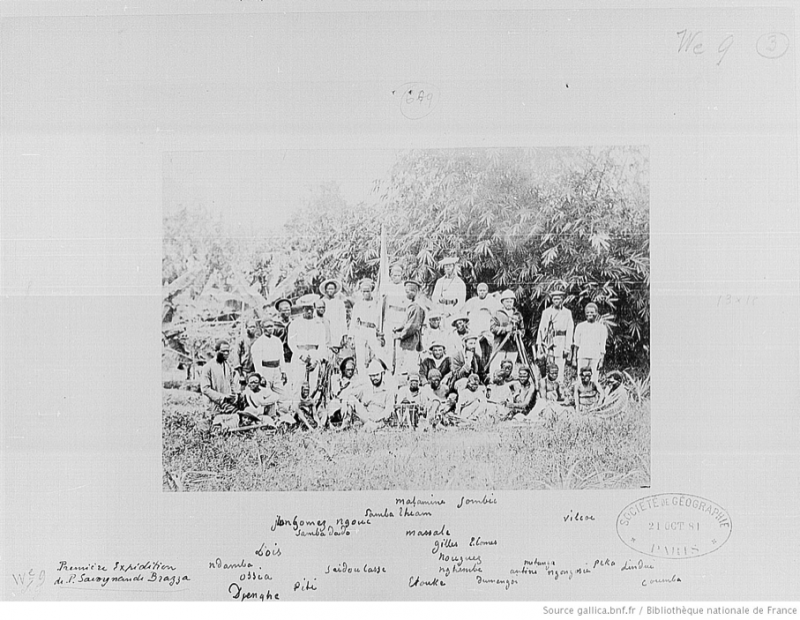 IFN-7702008. Bibliotheque nationale de France. 5 phot. de personnages de l'expédition de P. Savorgnan de Brazza au Gabon en 1880, par Francis W. Joaque, phot. au Gabon, les personnages étant identifiés de la main de Brazza. Don 1881, par Brazza