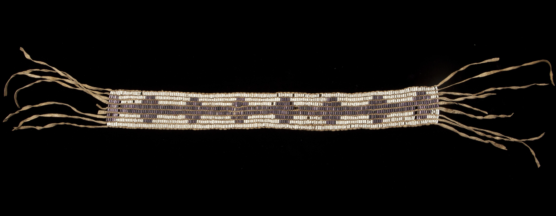 Wampum belt; Northeastern North America; 18th century Shell, leather; 116 x 8 cm. RMV 364-1; purchased from dealer Charles Jamrach, London, 1883
